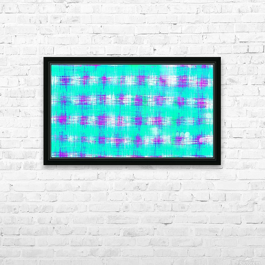 plaid pattern graffiti painting abstract in blue green and pink HD Sublimation Metal print with Decorating Float Frame (BOX)