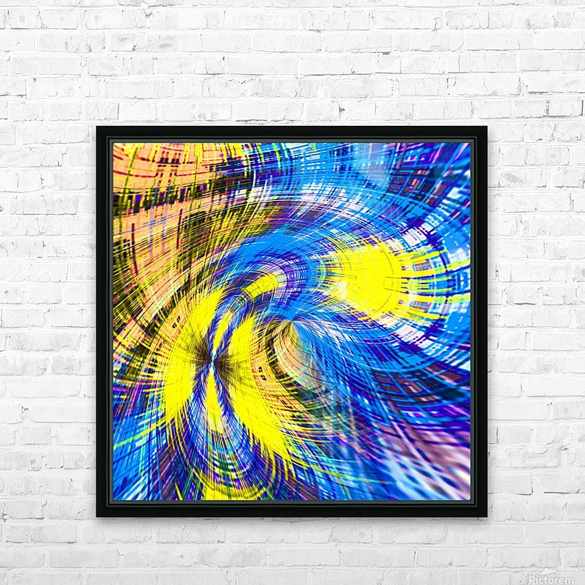 geometric psychedelic splash abstract pattern in blue and yellow HD Sublimation Metal print with Decorating Float Frame (BOX)
