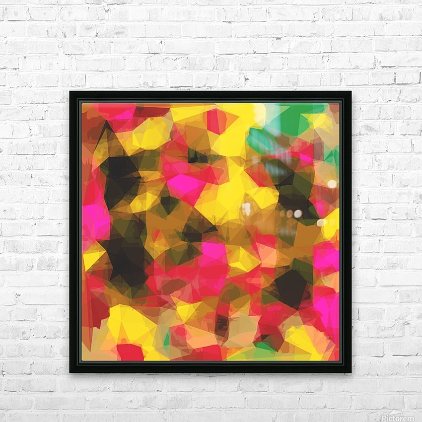 psychedelic geometric polygon shape pattern abstract in pink yellow green HD Sublimation Metal print with Decorating Float Frame (BOX)