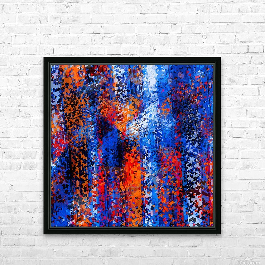 psychedelic geometric polygon shape pattern abstract in blue red orange HD Sublimation Metal print with Decorating Float Frame (BOX)