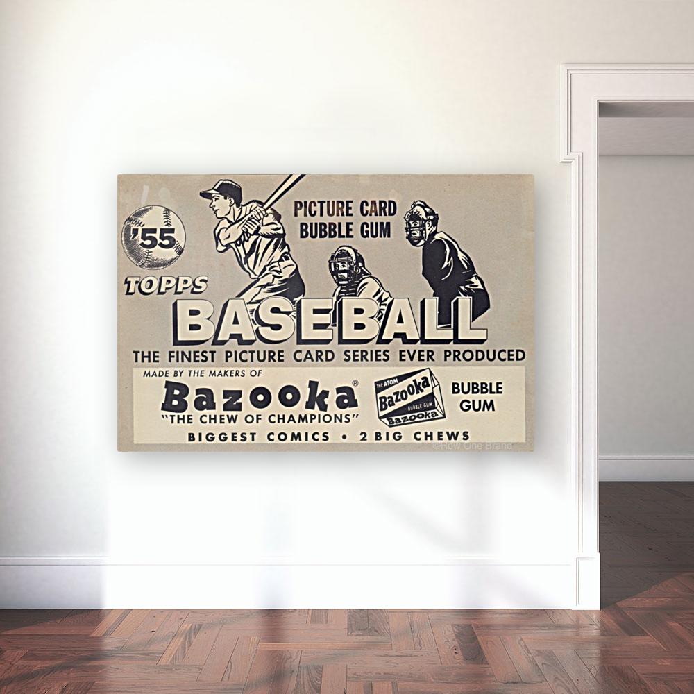 1955 Topps Baseball Bazooka Bubble Gum Vintage Metal Sign  Art