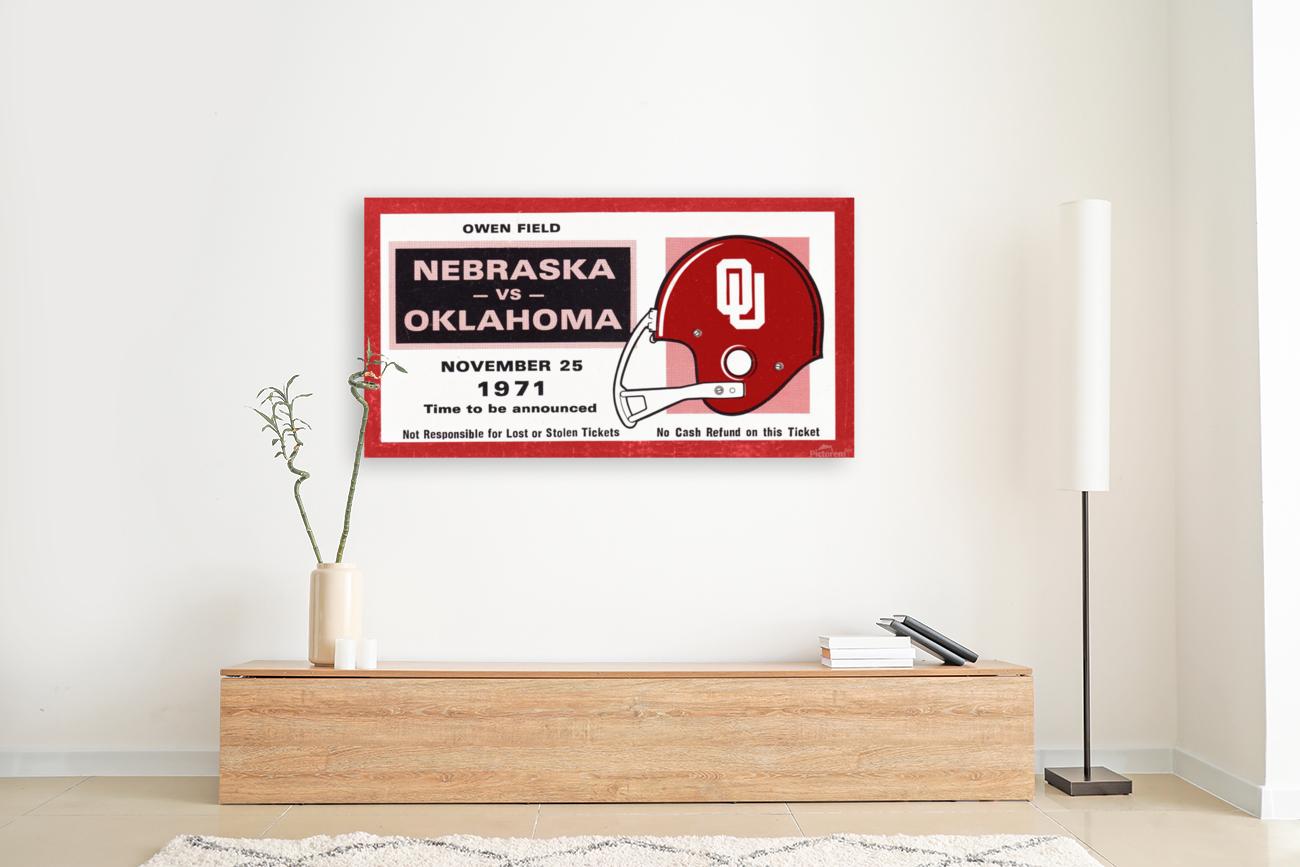 1971 Oklahoma Nebraska Game of the Century Ticket Stub Remix Canvas Art  Art