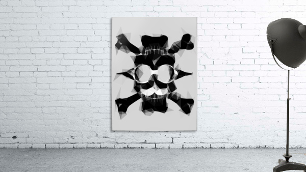 psychedelic skull art geometric triangle pattern abstract in black and white
