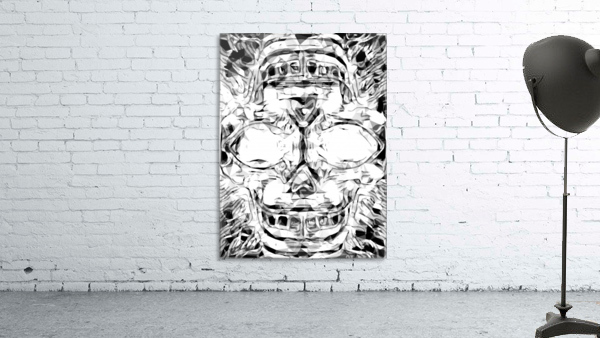 psychedelic skull art geometric triangle abstract pattern in black and white