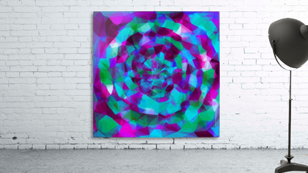 psychedelic geometric polygon pattern abstract in pink purple blue