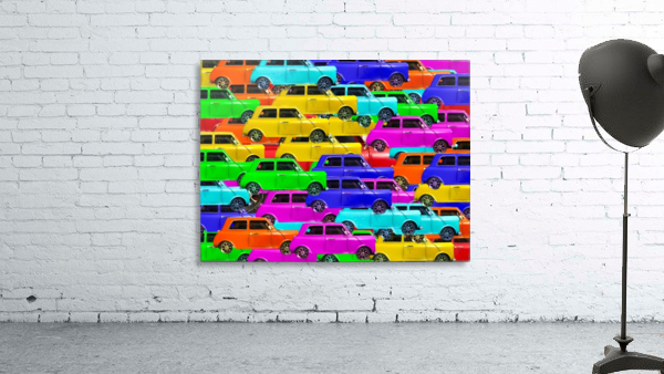 vintage car toy background in yellow blue pink green orange