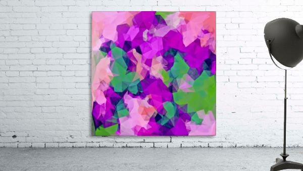 psychedelic geometric polygon pattern abstract in pink purple green