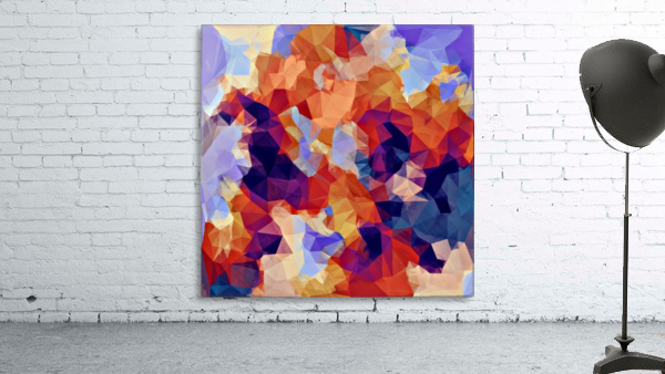 psychedelic geometric polygon pattern abstract in orange brown blue purple