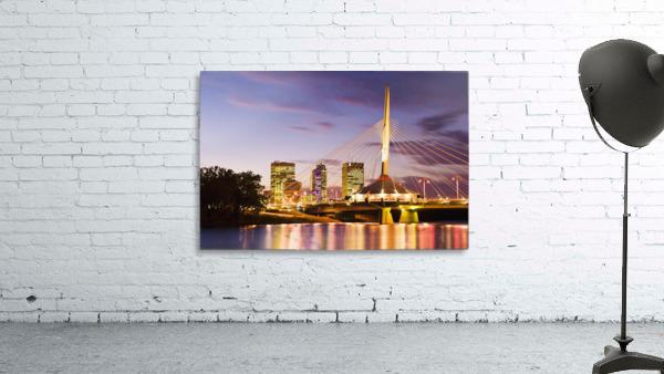City Skyline, Red River And Provencher Bridge At Dusk, Winnipeg, Manitoba