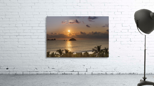 Sunset over the islands in front of Ixtapa; Ixtapa, Mexico
