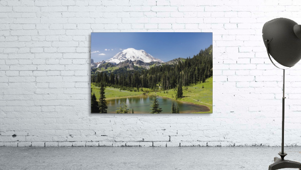 A view of Mount Rainier above Tipsoo Lake, near the top of Chinook Pass on Highway 410 in the Cascade Mountains; Washington, United States of America