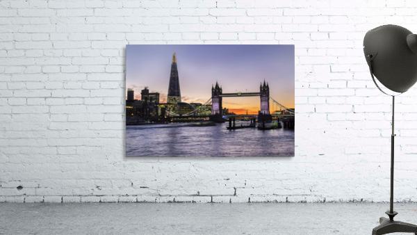 Tower Bridge and The Shard at dusk; London, England