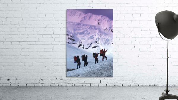 Mountain Climbers Byron Glacier Southcentral Ak Spring
