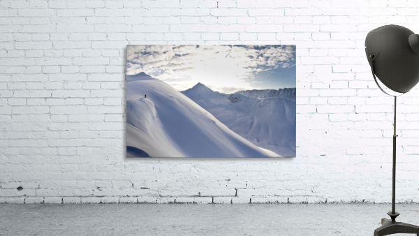 Man Backcountry Skiing In Powder Snow At Wolverine Bowl, Turnagain Pass, Kenai Mountains, Southcentral Alaska, Winter
