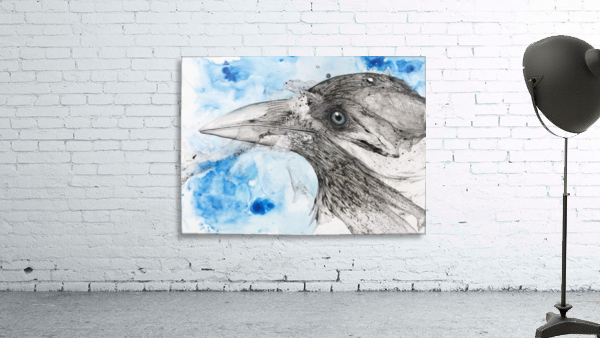 Illustration of a bird's eye and beak with mottled blue and white background