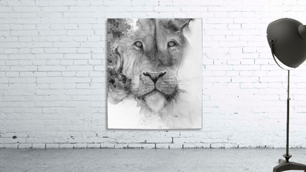 Illustration of a lion's face and a mottled background