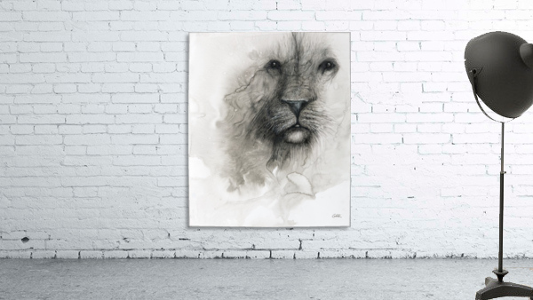 Illustration of a lion's face on a white background