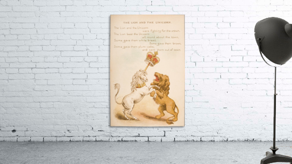 The Lion and the Unicorn from Old Mother Goose's Rhymes and Tales  Illustration by Constance Haslewood  Published by Frederick Warne & Co London and New York circa 1890s  Chromolithography by Emrik & Binger of Holland