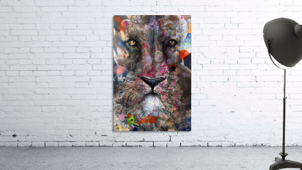 Illustration of a lion's face with colourful splashes