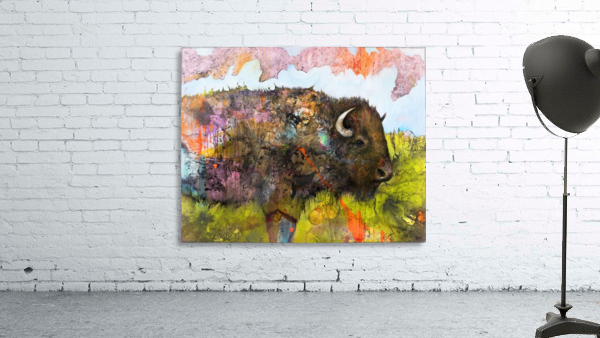 Illustration of a buffalo with colourful splashes and landscape