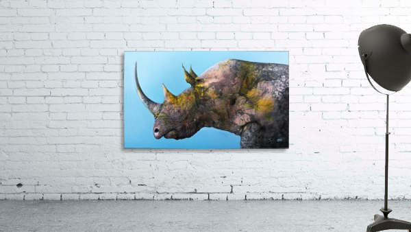 Illustration of a white rhinoceros against a blue background