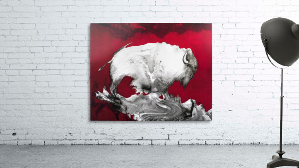 Illustration of a bison against a red background