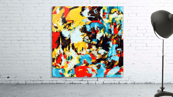 psychedelic geometric splash painting abstract pattern in yellow red blue brown