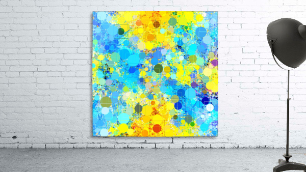 psychedelic geometric circle pattern and square pattern abstract in yellow and blue