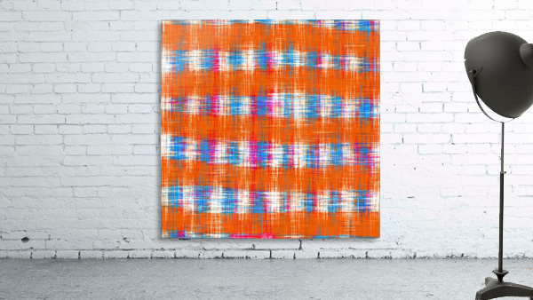 plaid pattern abstract texture in orange blue pink