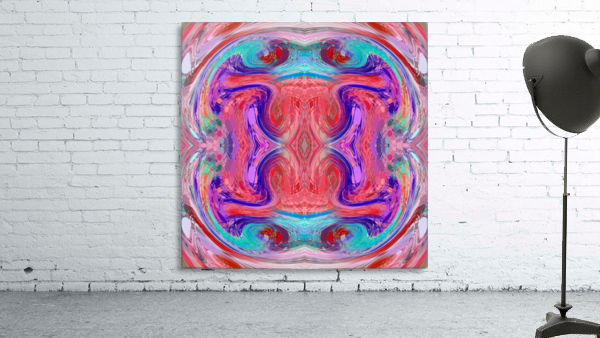 psychedelic geometric symmetry abstract pattern in red pink blue