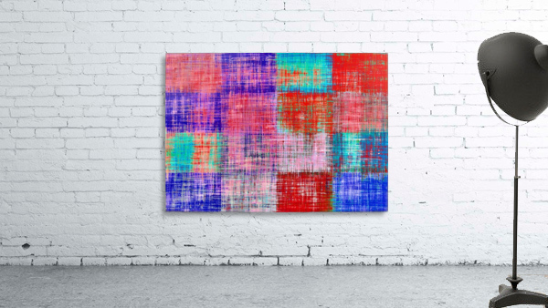 square plaid pattern texture abstract in red blue pink purple