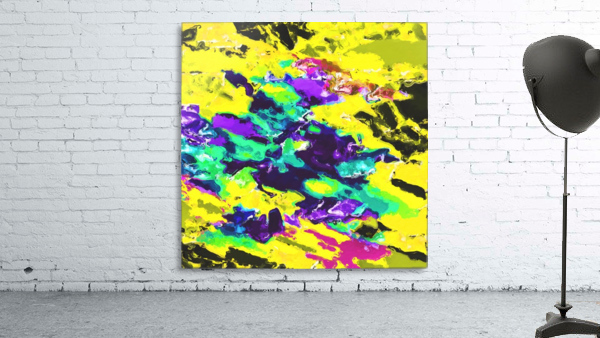 psychedelic splash painting abstract texture in yellow blue green purple
