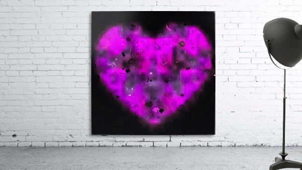 pink blurry heart shape with black background