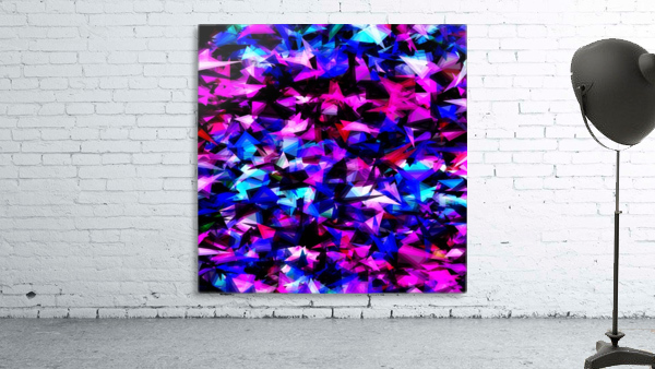 psychedelic geometric triangle polygon abstract pattern in pink blue black