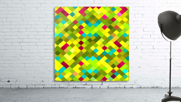 geometric square pixel pattern abstract in yellow red green blue