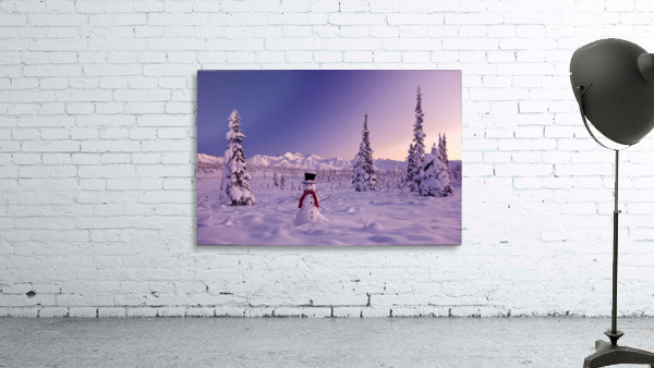 Snowman At Sunset, Snow Covered Spruce Trees, Winter, Chugach Mountains In The Background, Glenn Highway, Alaska Usa.