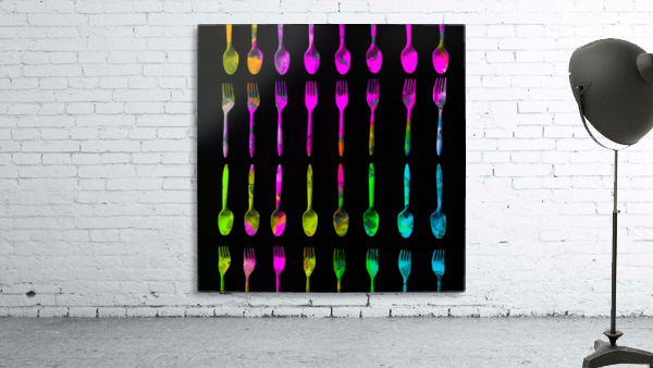 fork and spoon pattern in pink blue yellow with black background
