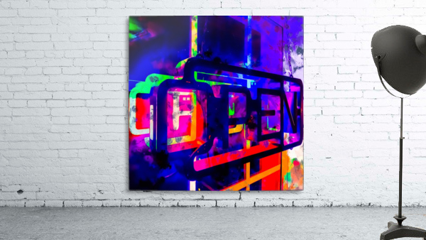 OPEN neon sign with pink purple red and blue painting abstract background