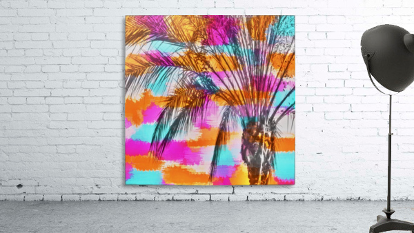 palm tree with colorful painting abstract background in pink orange blue