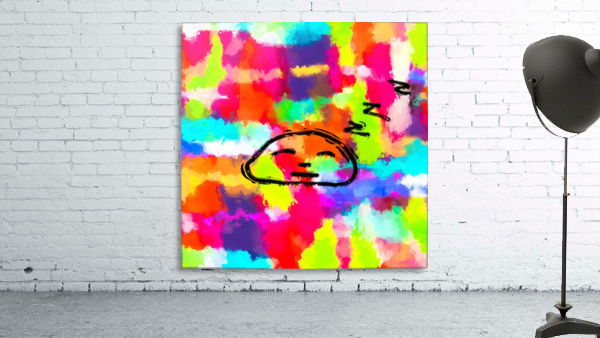 sleeping cartoon face with painting abstract background in red pink yellow blue orange