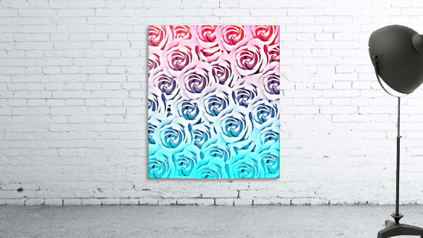 blooming rose pattern texture abstract background in pink and blue