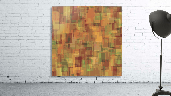 vintage psychedelic geometric square pattern abstract in brown and green