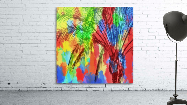 isolate palm tree with painting abstract background in red blue green yellow