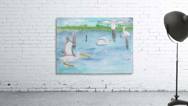 Pelicans in a coastal inlet.
