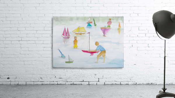 Children playing with sailboats.