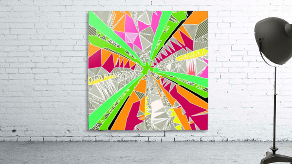 psychedelic geometric pattern drawing abstract background in green orange red pink