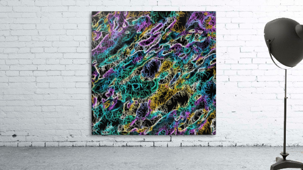 psychedelic rotten sketching texture abstract background in green purple yellow