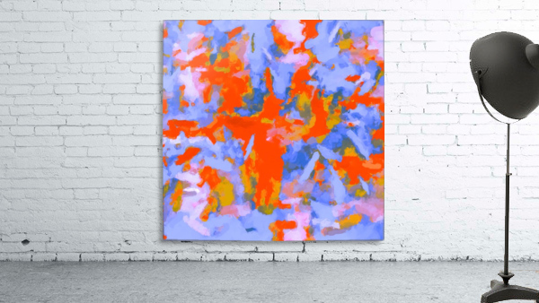 splash painting texture abstract background in red blue orange