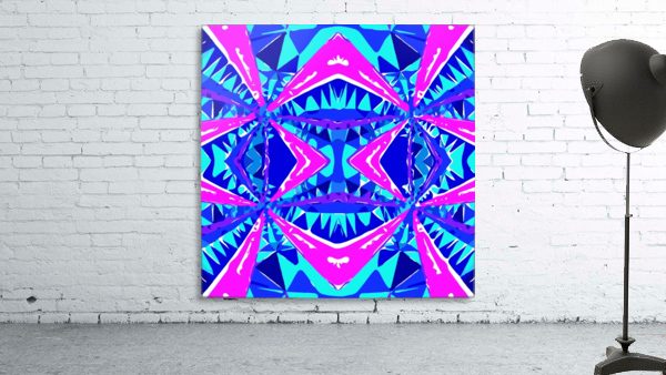 psychedelic geometric abstract pattern background in blue pink purple
