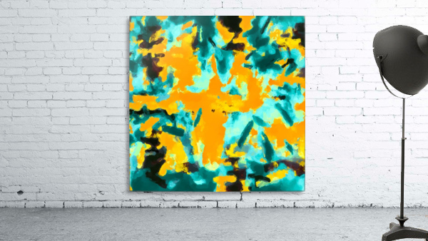 splash painting texture abstract background in green and orange